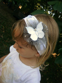 Bandeau bébé fille baptême mariage cérémonie papillon blanc gris argenté tulle pailletté