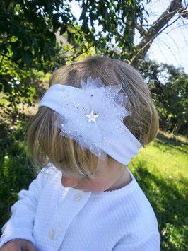 Bandeau baptême bébé enfant fille blanc pour baptême, fleur/étoile blanche paillettes argentées