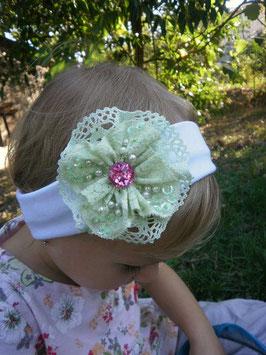 Bandeau bébé baptême fille enfant fillette fleur en dentelle vert pastel strass et bandeau blanc en coton extensible