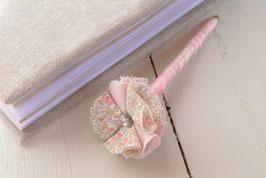 Stylo livre d'or fleur liberty katie and millie pastel rose & strass pour mariage baptême thème champêtre