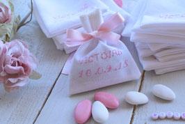 Ballotins dragées coton blanc broderie fil rose baptême communion fille