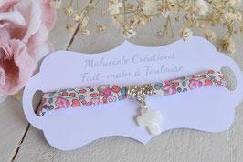 Bracelet liberty Eloise corail avec croix pour baptême, communion, confirmation