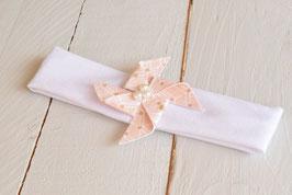 Bandeau bébé enfant moulin à vent rose poudré baptême cérémonie mariage