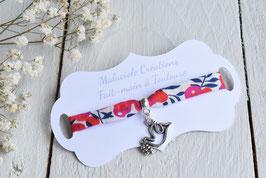 Bracelet liberty whiltsire rouge colombe pour baptême, communion, confirmation