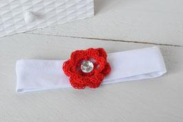 bandeau bébé fleur rouge au crochet avec strass pour Noël