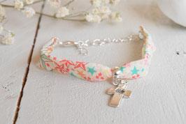 Bracelet liberty adelajda et croix argenté pour baptême, communion, confirmation