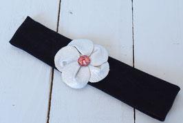 Bandeau bébé noir fleur similicuir argenté avec strass rouge