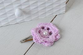 Barrette fleur crochet bohème rose pour femme enfant mariage baptême