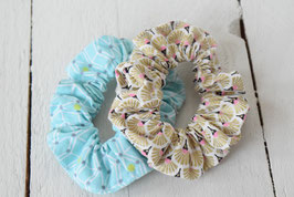 Chouchou cheveux en tissu - Lot de 2 : bleu & or motif géométrique