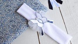 bandeau bébé papillon bleu marine et blanc baptême, cérémonie, mariage