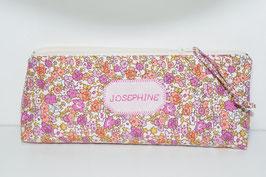 Trousse école prénom fille à personnaliser avec broderie, tissu imprimé liberty fleurs rose/corail