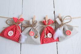 Calendrier de l'avent Noël réutilisable en tissu rouge à pois et jute style traditionnel
