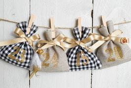 Calendrier de l'avent Noël réutilisable - Déco rustique en tissu vichy noir-blanc et lin - chiffres dorés