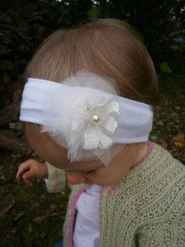 Bandeau bébé noël blanc fleur paillette blanche