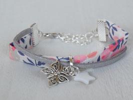 Bracelet enfant liberty Whiltshire corail gris / papillon et étoile nacre - idée cadeau anniversaire noël fille bijou artisanal