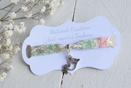 Bracelet colombe liberty poppy and daisy pastel  pour baptême, communion, confirmation