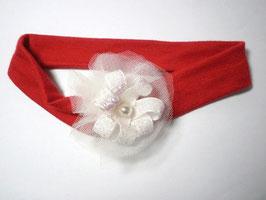 Bandeau bébé noël rouge fleur paillette blanche