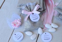 Pochon dragées lin métallisé argenté ruban rose clair / sachet dragées à personnaliser avec étiquettes mariage baptême communion