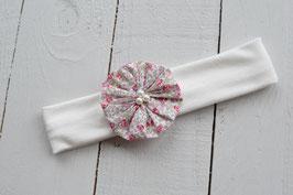 Bandeau bébé liberty Eloise rose fille baptême mariage communion headband en coton écru ou blanc fleur romantique