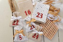 Calendrier de l'avent Noël AA Sachets en tissu blanc étoile - beige pailleté / Chiffre rouge pailleté - Calendrier réutilisable et intemporel