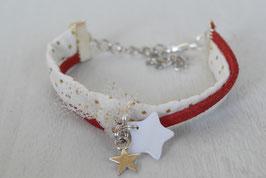 Bracelet enfant Noël - Tissu rouge or et breloques étoiles