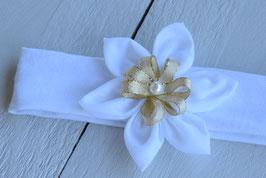 bandeau bébé fleur blanc/or pour baptême