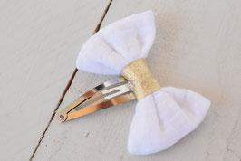 Barrette noeud double gaze blanc et doré baptême communion