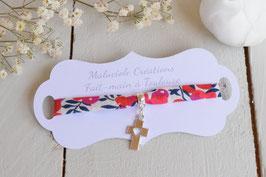 Bracelet liberty whiltsire rouge croix argenté pour baptême, communion, confirmation