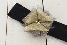 Bandeau bébé enfant tulle féerique noir or pour fêtes de fin d'année noël
