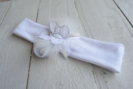 Bandeau bébé fille cérémonie papillon blanc argent tulle