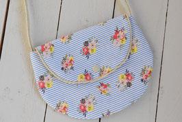 Petit sac à main fille enfant 2/10 ans tissu rayé bleu blanc marin mer fleurs doré