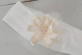 Bandeau baptême bébé fleur ruban écru sur tulle