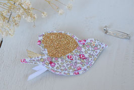 Broche Oiseau Liberty Eloise rose pour baptême mariage