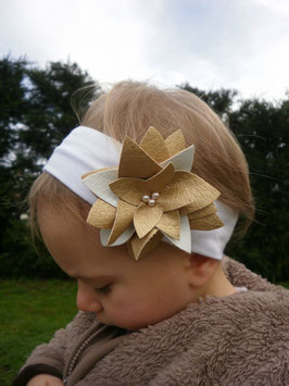 Bandeau bébé fille fleur nénuphar doré blanc