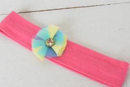 Bandeau bébé fille rose indien et petite fleur des Iles jaune et bleu
