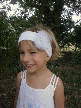 bandeau baptême fleur Organza blanc baptême bébé fille enfant idée cadeau naissance anniversaire headband mariage cérémonie