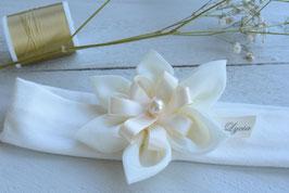 Bandeau baptême bébé prénom coton écru fleur création fait-main + prénom à personnaliser cérémonie mariage bébé fille fillette enfant