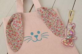 Petit sac enfant Pâques Oreille Lapin en tissu lin rose poudré & Liberty + Marque Page Paillette rouge doré