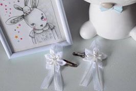 Barrette mariage Baptême fleur blanche pour enfant, bébé, femme, maman, grande soeur, marraine