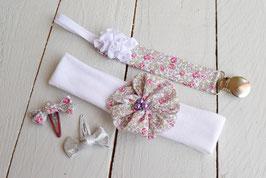 Ensemble cadeau naissance bébé fille  Liberty of London Liberty Eloise rose+ attache tétine prénom + 2 minis barrettes