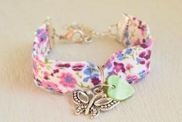 Bracelet enfant fillette tissu liberty rose parme papillon coeur- idée cadeau anniversaire noël fille bijou artisanal