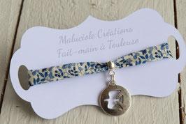 Bracelet liberty Katie and millie bleu médaillon colombe argenté pour baptême, communion, confirmation