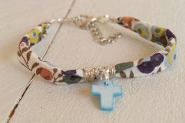Bracelet liberty whiltsire vert avec croix pour baptême, communion, confirmation