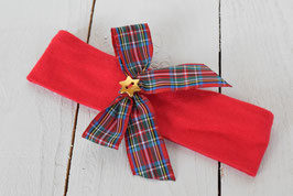 bandeau bébé noël noeud rouge vert écossais