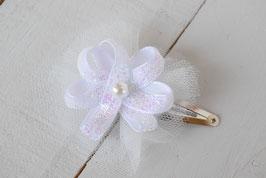 Barrette délicate Fleur ruban paillette tulle baptême mariage cérémonie noël