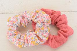 Chouchou cheveux en tissu - Lot de 2 : liberty wiltshire rose jaune + double gaze corail