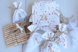 Calendrier de l'avent Noël AK 24 sachets en tissu à remplir, réutilisable - Calendrier beige rouge et doré