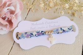 Bracelet liberty whiltsire mauve lilas avec croix pour baptême, communion, confirmation
