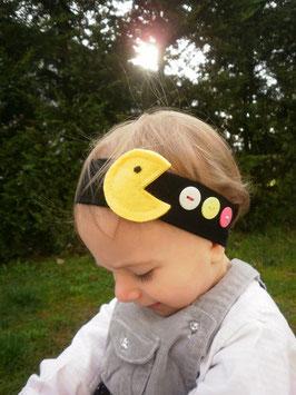 Bandeau bébé petite fille enfant bandeau cheveux large coton noir Pac man jaune