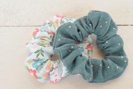 Chouchou cheveux en tissu - Lot de 2 : bleu fleurs + double gaze vert à pois doré